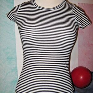 Black White Stripe Stretch Top XS FREE WITH BUNDLE